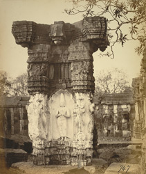 Close view of carved pillar at the Narasimha Temple, Ahobilam
